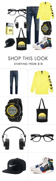 """Casual look"" by miloni-jhaveri on Polyvore featuring Jack & Jones, G-Shock, Master & Dynamic, EyeBuyDirect.com, NIKE, Christian Louboutin, Moschino, men's fashion and menswear"