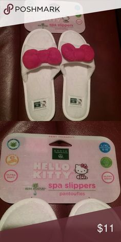 NWT Hello Kitty Spa Slippers  Final Price These are spa slippers from Earth Therapeutics.  They are ultra soft, aloe moisture, and memory foam soles. This is a final price item, but you can still save 15% when you bundle. Sanrio Shoes Slippers