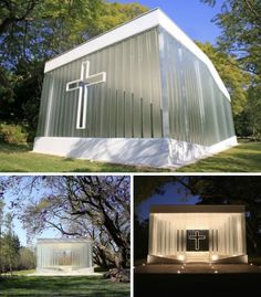 La Estancia Glass Chapel, Mexico - An architect from Bunker Arquitectura wanted to get married @ the gardens; the owner thought having the architect design a new chapel was a romantic idea. But endless arguments ensued over the design:  the owner wanted it enclosed & w/ AC; the architect, open to the elements. The owner preferred a traditional look; the architect, a modern aesthetic. The compromise:  Bunker used U-profiled glass panes that fit together as a single membrane, allowing…