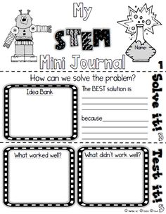 FREE STEM Mini Journal for Elementary Students! Use with ANY STEM Challenge!