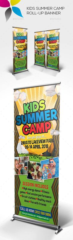 Kids Summer Camp Roll-up #Banner - Signage #Print #Templates Download here: https://graphicriver.net/item/kids-summer-camp-rollup-banner/19323950?ref=alena994
