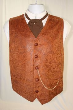 Cattle Rustlers Tooled Embossed Leather Vest Cowboy Steampunk (Men's L 46) 2353 #Frontier