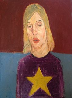 Meirion  Ginsberg - Girl with Star Jumper Oil on Canvas