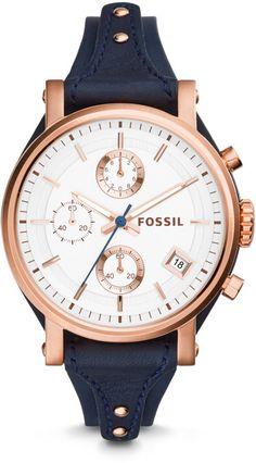 Fossil Original Boyfriend Chronograph Navy Leather Watch f415d762ff