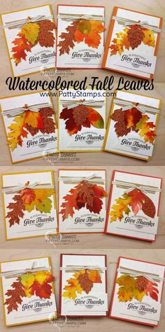Watercolor Wash Fall Leaf cards by pattystamps