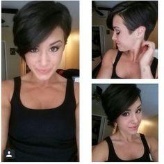 short hair cut pixie fringe brunette asymmetrical