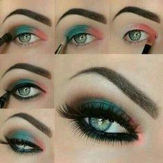 Maquillaje con tonos turquesas