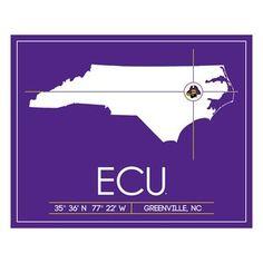 East Carolina University Map, $112, now featured on Fab.