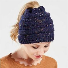 1eaaad3d4db knitted messy bun hat beanie winter hats with ponytail hole Knitted Poncho