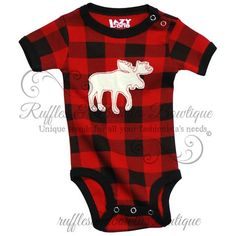 PRE ORDER - Lazy One Moose Plaid BabyOnesie Creepers Matching Christmas Pj's - Buffalo Plaid Baby Onesie - Buffalo Print Baby Creeper