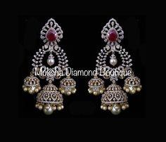 Indian Jewelry Earrings, 18k Gold Jewelry, Jewelry Design Earrings, Gold Earrings Designs, Pink Jewelry, Diamond Jewelry, Hoop Earrings, Chain Jewelry, Bridal Jewellery