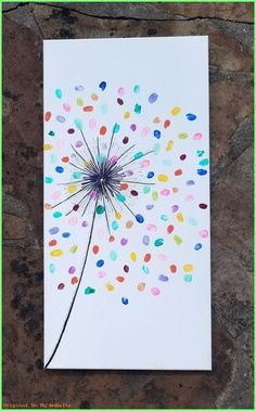 colorful fingerprint art for kids - Mother's day gift idea with a dollar store canvas Kids Crafts, Toddler Crafts, Easter Crafts, Arts And Crafts, Mothers Day Crafts For Kids, Toddler Art, Family Crafts, Class Art Projects, Craft Projects