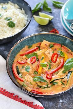 Vegan Thai Red Curry With Tofu And Vegetables,Vege. Vegan Thai Red Curry With Tofu And Vegetables,Vegetable Tofu Red curry. Tofu Red Curry Recipe, Red Thai Curry Vegetarian, Thai Vegetable Curry, Thai Curry Recipes, Curry Ramen, Vegan Curry, Thai Red Curry, Recipes, Vegan Recipes