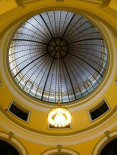 he interior of the Handley Library rotunda with stained glass dome — in Winchester, Virginia