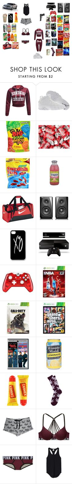 """Untitled #90"" by tnasty15 ❤ liked on Polyvore featuring Retrò, FRUIT, NIKE, xO Design, Poetic Justice, Disney, Carmex, HUF and Victoria's Secret"