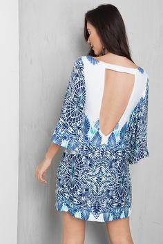 vestido maxi manga estampado tribus | Dress to