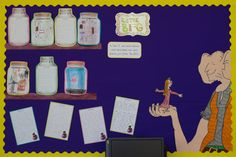 'The BFG' Literacy display. Children wrote about and drew their own dream jars and these have been displayed on shelves. Sophie and the BFG drawn and coloured using felt tip pens. More work to be added. Bfg Display, Literacy Display, Reading Display, Display Ideas, School Displays, Classroom Displays, Classroom Themes, Library Displays, Roald Dahl Day