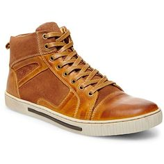 Madden Men Tan Leather Perrow Shoe (€49) found on Polyvore featuring men's fashion, men's shoes, men's sneakers, tan leather, mens tan leather shoes, mens leather shoes, steve madden mens shoes, mens leather lace up shoes and mens tan shoes