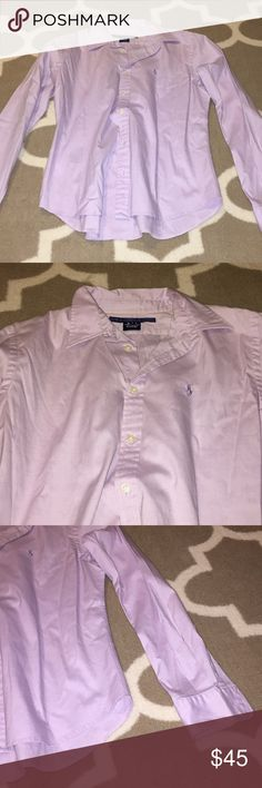 RL lilac oxford shirt Polo Ralph Lauren Sport casual collared dress button down. Like new condition. Beautiful light lilac purple color. Ralph Lauren Tops Button Down Shirts