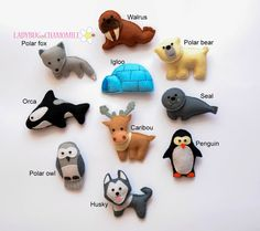 WWW.LADYBUGONCHAMOMILE.COM Funny miniature magnet Arctic animals, made from felt, stuffed with polyester. Animals: -Walrus -Polar