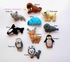 WWW.LADYBUGONCHAMOMILE.COM    Funny miniature magnet Arctic animals, made from felt, stuffed with polyester.    Animals:    -Walrus  -Polar