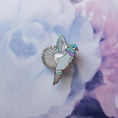 Flock of Friends Pigeon Enamel Pin with Butterfly Clasp //