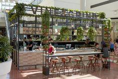 Vine & Grind espresso bar by Morris Selvatico, Sydney – Australia ☽☯☾magickbohemian Kiosk Design, Retail Design, Booth Design, Cafe Bar, Cafe Restaurant, Restaurant Design, Sydney Beaches, Beach Cafe, Garden Cafe