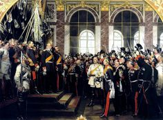 Anton von Werner's depiction of Wilhelm's proclamation as Emperor in the Hall of Mirrors in Versailles; Bismarck is in the centre-right wearing white. The third version of the proclamation of Prussian king Wilhelm I as German Emperor at Versailles, by Anton von Werner. The first two versions were destroyed in the Second World War. This version was commissioned by the Prussian royal family for chancellor Bismarck's 70th birthday.