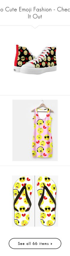 So Cute Emoji Fashion - Check It Out by flisty on Polyvore featuring shoes, bright colored shoes, bright shoes, dresses, accessories, tech accessories, tops, t-shirts, crop t shirt and crop top