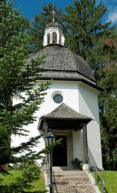"""The """"Stille Nacht Kapelle"""" in Oberndorf, Austria - marks the place where the beloved Christmas carol """"Silent Night"""" was first performed on Christmas Eve 1818."""