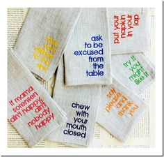 Napkins with manners