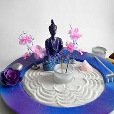 Zen Garden // Buddha Statue // Incense Burner // Meditation // Candle Holder // Galaxy // Amethyst // DIY Kit // Feng Shui // Stress Relief - All For Garden Meditation Room Decor, Meditation Corner, Meditation Garden, Meditation Space, Meditation Buddhism, Mini Zen Garden, Zen Garden Design, Zen Space, Buddha Zen