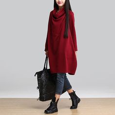 New 2016 Autumn And Winter Fashion Turtleneck Long Sleeve Loose Casual Dress Women Thicken Cotton Dresses Plus Size H350-in Dresses from Women's Clothing & Accessories on Aliexpress.com | Alibaba Group