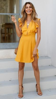 the Easy, Breezy Solution to Summer Dressing Are the Easy, Breezy Solution to Summer Dressing Stormy Weather dress in mustard Stylish 40 Affordable College Graduation Outfits Ideas For Spring Summer Fashion Print Polka Dot V-Neck Ruffle Waistband Dress Summer Dress Outfits, Casual Summer Dresses, Summer Dresses For Women, Spring Outfits, Cool Outfits, Fashion Outfits, Fashion Tips, Yellow Dress Summer, Yellow Dress Casual