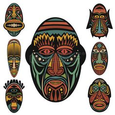 Find Set African Ethnic Tribal Masks On stock images in HD and millions of other royalty-free stock photos, illustrations and vectors in the Shutterstock collection. African Logo, African Theme, African Masks, African Art, African Colors, Graphic Pattern, Rick And Morty Poster, Art Beat, Tiki Mask