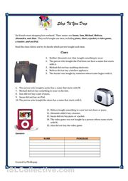 This logic puzzle gives students practice with the simple past tense. There are two versions of the worksheet. One version has the clues and can be used as a. Simple Past Tense, Grammar Activities, Logic Puzzles, English Classroom, Shop Till You Drop, Printable Worksheets, Writing Skills, Teaching English, Elementary Schools