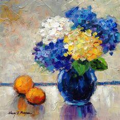 "Daily Paintworks - ""Blue Hydrangeas"" - Original Fine Art for Sale - © Nancy F. Morgan"