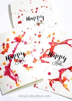 Colorful Paint Splatter cards for Holi - The Festival of Colors. Indulge in some pre-Holi fun by splashing colors on paper! Holi Greeting Cards, Holi Greetings, Holi Cards, Holi Drawing, Inkylicious Cards, Around The World Crafts For Kids, Holi Theme, Holi Gift, Happy Navratri Images