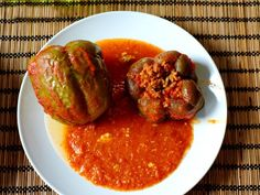 Hungry for Hungarian? Rice, tomatoes, and ground beef fill up fresh green peppers and everything is slowly simmered in a seasoned tomato sauce. | CDKitchen.com