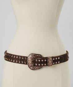 Look what I found on #zulily! Brown & Rose Gold Embossed Rhinestone Belt by I Love Accessories #zulilyfinds