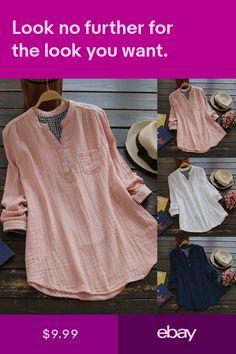 7774592fbd604 Womens Long Sleeve Casual Plaid Check Shirt Tops Irregular Hem Blouse Plus  Size