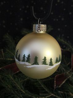 Handpainted Glass Christmas Ornament by ChristysCornerShop on Etsy, $10.00