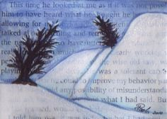 Winter scenery painted on old book page. Markers, acrylic paint and glitter