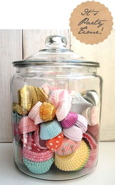 cup cakes wrappers. Such a cleaver idea, I never thought about that with all of my cute wrappers.