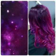 GALAXY-HAIR-2.jpg (595×598) ❤ liked on Polyvore featuring hair and galaxy
