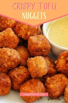 """These crispy tofu nuggets are vegan and delicicous. Being vegan clearly means you can't eat chicken nuggets. That's because the vegan diet is purely plant-based. But it doesn't mean you don't have alternatives to enjoy the the cruchy goodness of the nuggets. These vegan """"chicken"""" nuggets are perfect when you're craving the texture of a crispy nugget. Healthy Vegan Breakfast, Healthy Vegan Desserts, Vegan Appetizers, Tofu Recipes, Delicious Vegan Recipes, Snack Recipes, Vegan Food, Dinner Recipes, Vegan Chicken Nuggets"""