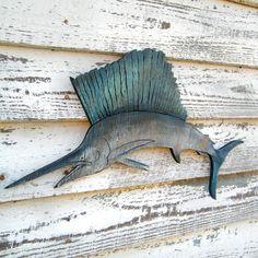 Marlin Fish Ocean Wood Sign Fishing Beach Decor by SlippinSouthern Beach Patio, Fishing Signs, Beach Art, Beach Room, Beach Shack, Fish Design, Rustic Feel, Beach House Decor, Beach Themes