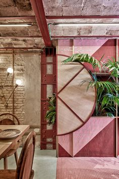 When an avid surfer wanted to open Kaikaya, the first tropical sushi restaurant in Valencia, Spain, she reached out to Masquespacio to design the colorful, Brazilian-inspired interior. Architecture Restaurant, Restaurant Interior Design, Modern Interior Design, Commercial Design, Commercial Interiors, Brazilian Restaurant, Estilo Tropical, Tropical Vibes, Sushi Restaurants