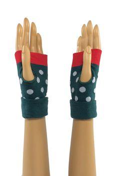 Teal Green/Red Round Dot Printed Wrist Length Fingerless Gloves