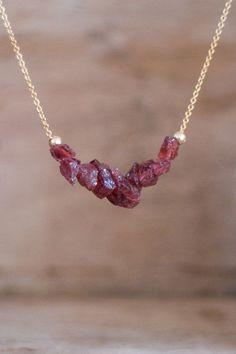 Raw Garnet Necklace in Silver or Gold, Rough Garnet Crystal Jewellery, Red Garnet Necklace, Garnet Jewelry, Raw Gemstone Necklace by AbizaJewelry on Etsy https://www.etsy.com/listing/224008869/raw-garnet-necklace-in-silver-or-gold